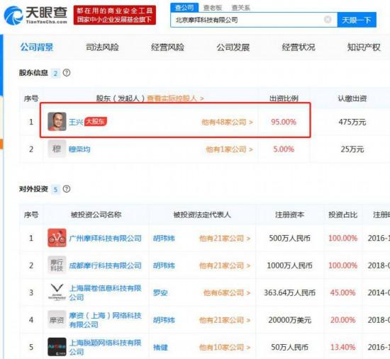 摩拜完成股东工商变更:胡玮炜退出王兴持股95%