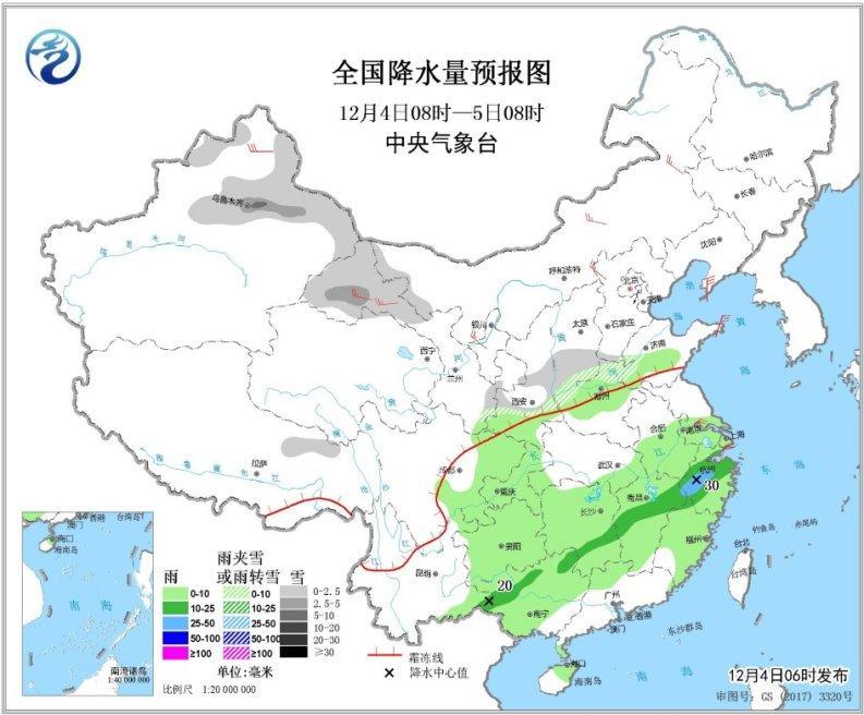 未来三天强冷空气将再度影响中国 南方地区多阴雨