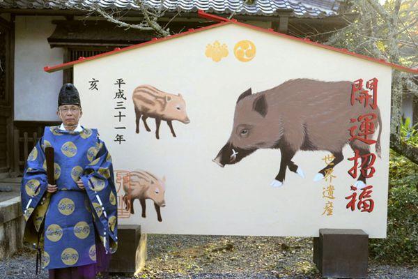 猪年将至 日本寺庙推出野猪图案绘马