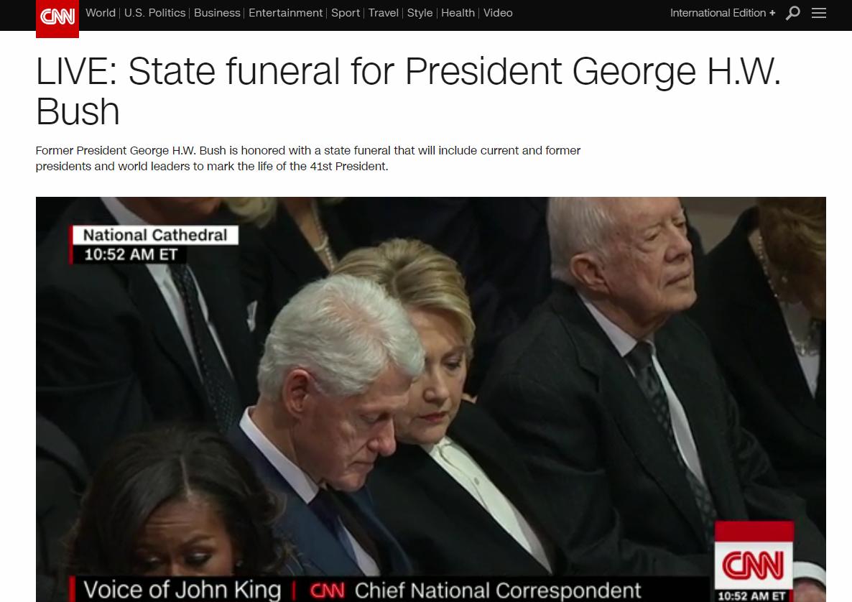 快讯!老布什国葬开始,特朗普夫妇、奥巴马夫妇出席