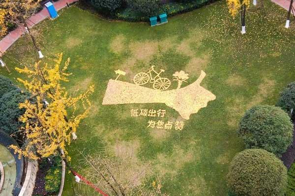 成都一物业绿化工用落叶作画引关注