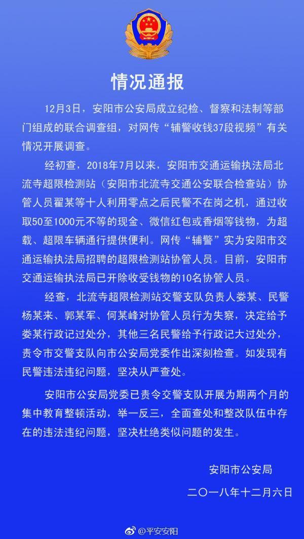 """安阳通报""""辅警收钱37段视频"""":处分4民警,开除10协管"""