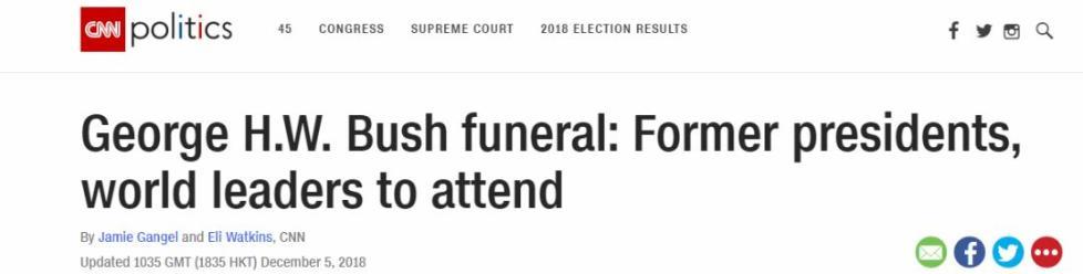 老布什国葬开始,他俩这表情......