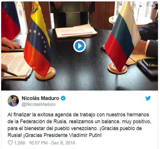 俄将向委内瑞拉投资60亿美元 马杜罗:感谢普京 感谢俄罗斯人民