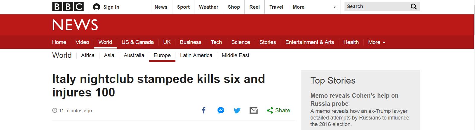 疑似胡椒喷雾导致意大利夜店发生踩踏,6人死亡至少120人受伤