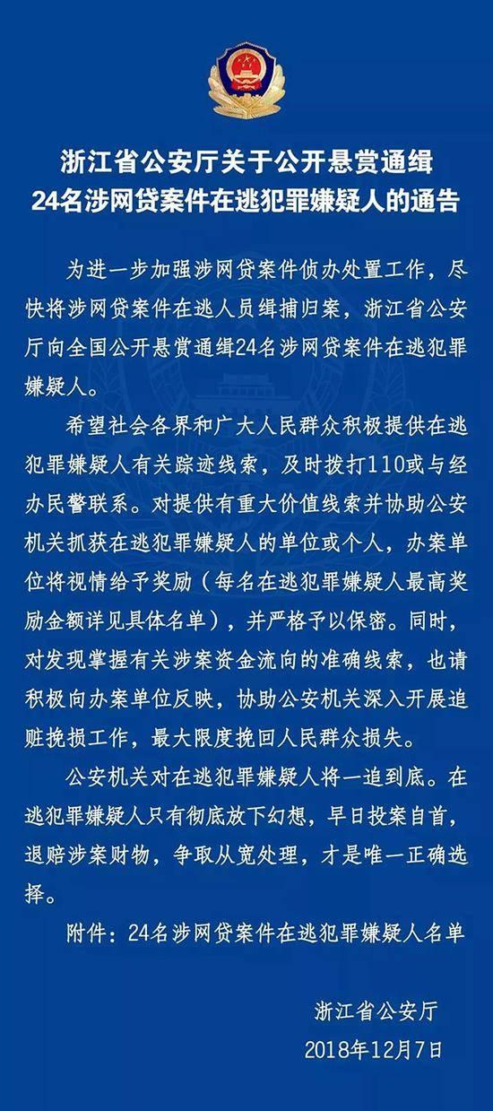 浙江警方通缉24名涉网贷案嫌犯 最高悬赏50万(图)