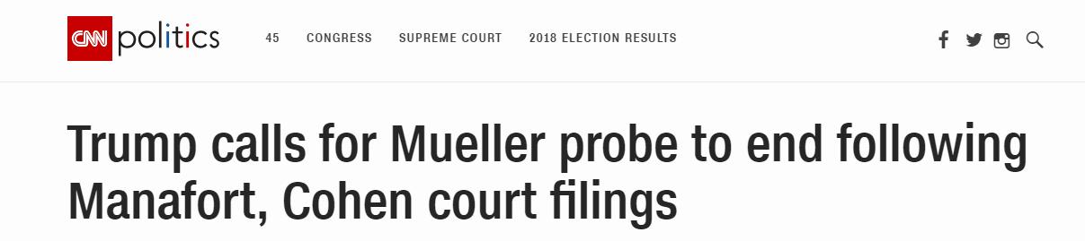"""检方公开文件后,特朗普称没有与俄""""勾结"""""""