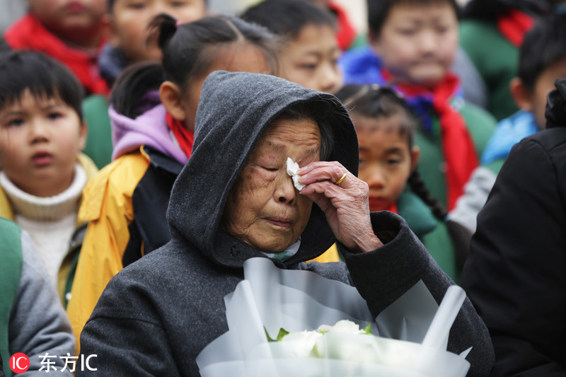 南京大屠杀幸存者携家属举行家庭祭告活动