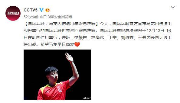 国际乒联:马龙因伤退出年终总决赛