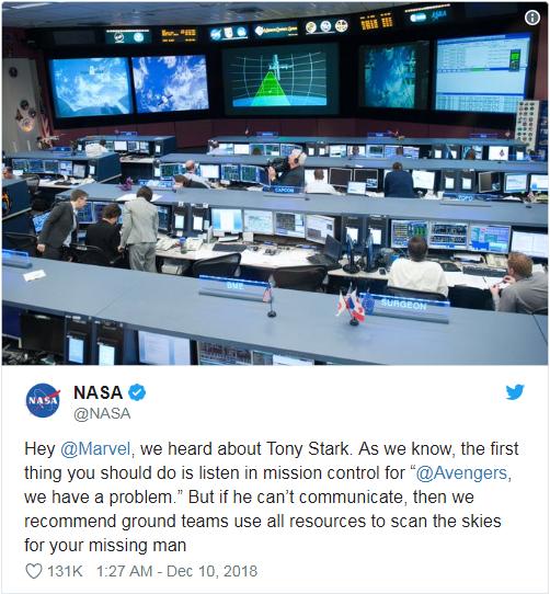NASA表示希望漫威调动一切资源去拯救钢铁侠