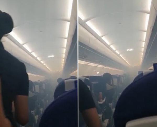 惊魂一刻!印客机舱内冒浓烟迫降乘客焦虑不已