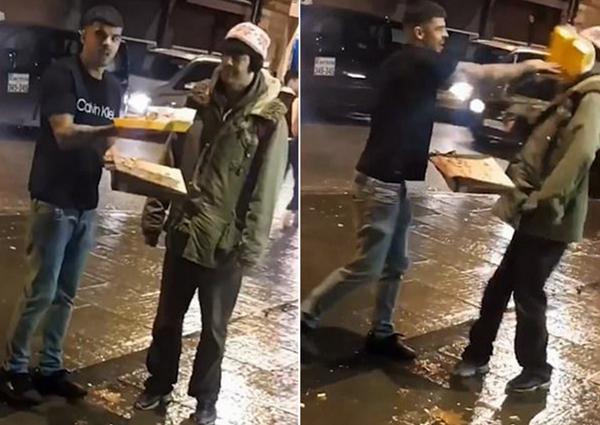 英醉酒男子将外卖拍在流浪汉脸上引众怒