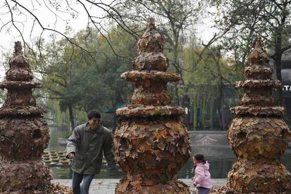 落叶艺术品成为杭州西湖独特风景