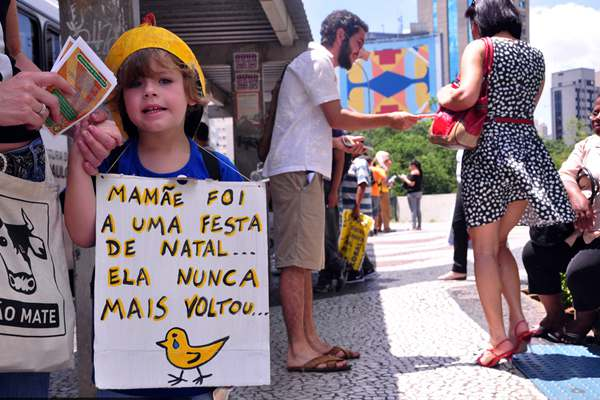 最温和幽默的抗议?巴西街头素食者头戴动物面具分发食谱