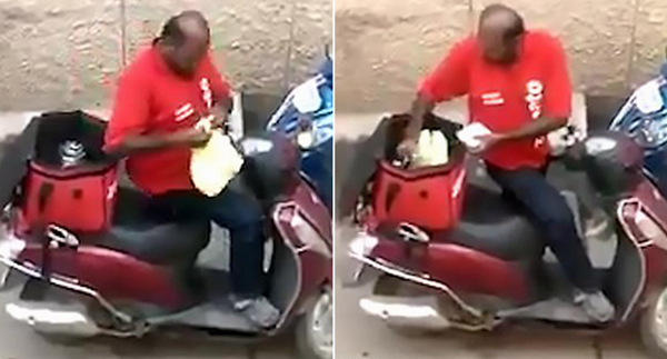 印度一快递小哥偷吃买家食物被解雇