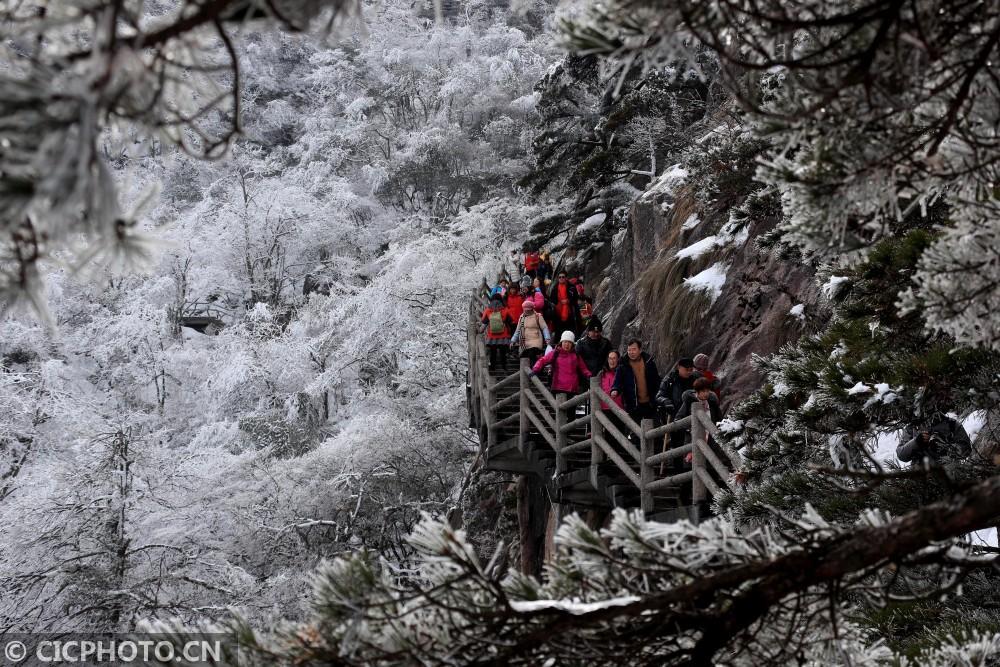 安徽:雪后黄山醉游人