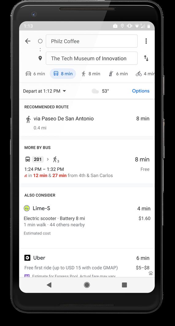 谷歌地图联手Lime推出查找最近电动滑板车功能