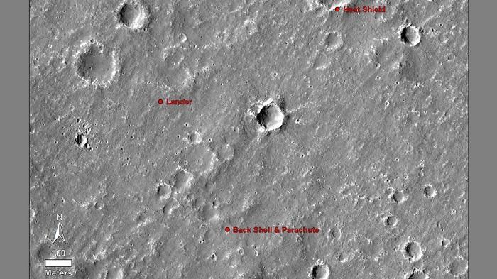 火星勘测轨道飞行器传回洞察号探测器着陆地照片