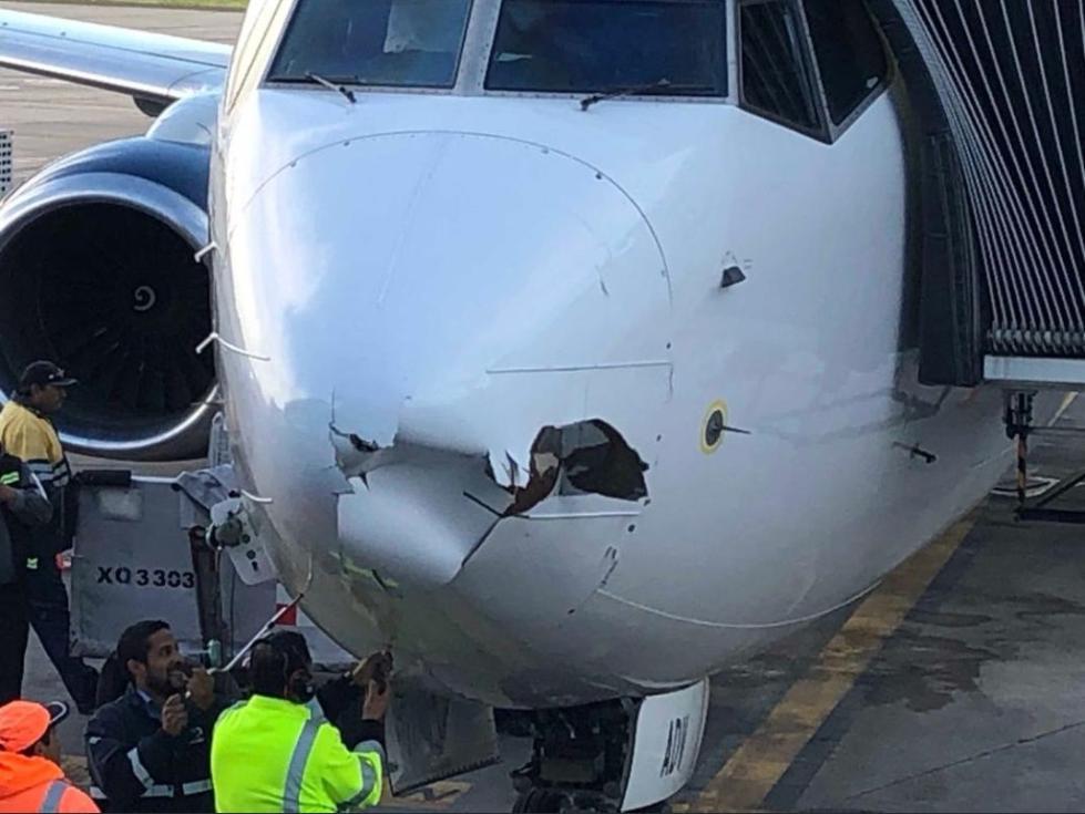 墨航飞机进近时雷达罩受损,无人机背锅?