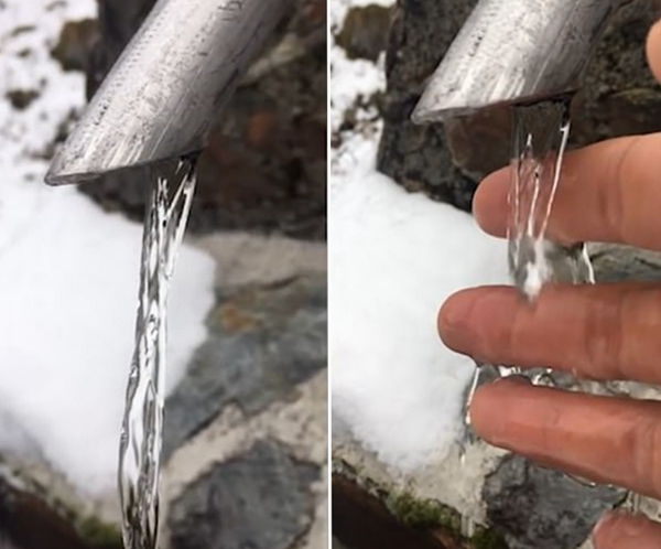 罕见!意摄影师拍摄层流现象 流水瞬间静止如冰柱