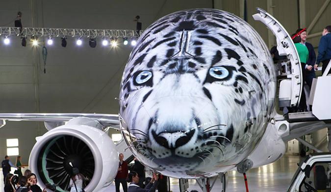 阿斯塔纳航空发布雪豹头Embraer 190-E2飞机
