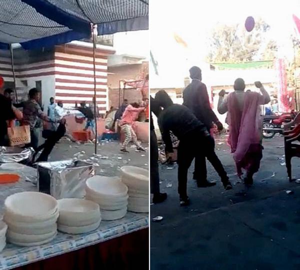 印度婚宴中客人因食物短缺大打出手 场面一片混乱
