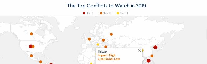"""美智库报告提2019年""""美国担忧的冲突"""",台湾问题首次被纳入"""