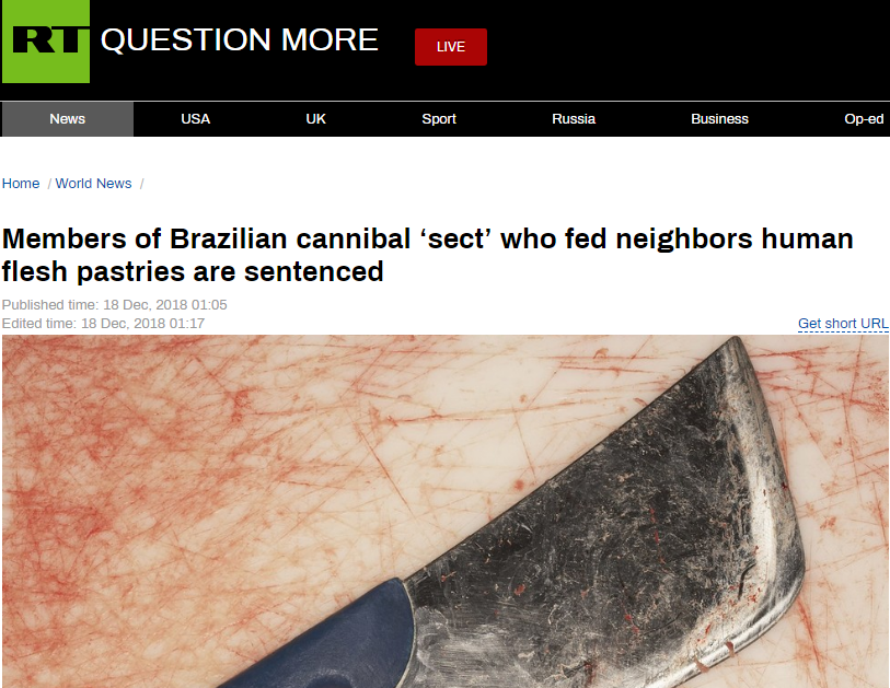 巴西男子与妻子、情妇合伙杀3女做人肉馅饼,共被判210年