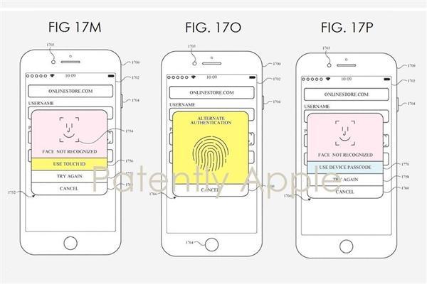 苹果新专利暗示指纹识别将重回iPhone:作为Face ID后备