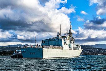 距离中国最近的加拿大军舰离港返回加拿大