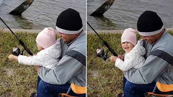 天真可爱!两岁女童第一次钓到鱼兴奋拍手开怀大笑