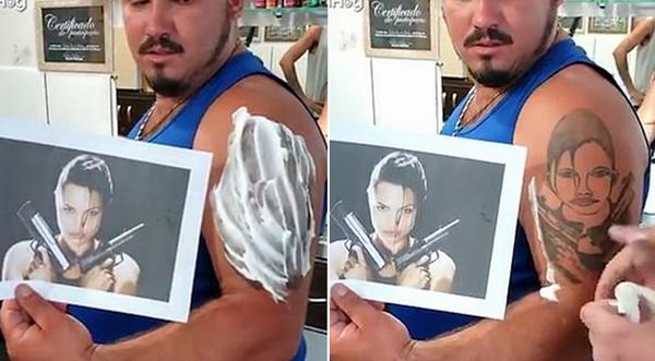 纹身灾难!巴西男子纹安吉丽娜朱莉遭嘲笑