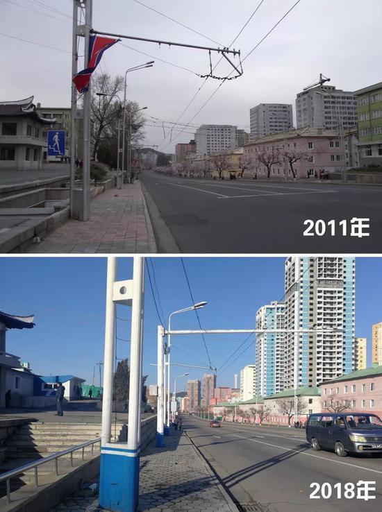 △平壤街边,如今与几年前相比还是有不小的变化