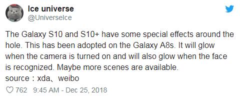 三星S10最新爆料:三种屏幕尺寸 前摄环孔会发光