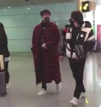 尹正和翟天,临机场偶遇,友情满满,新剧也要开播了吧?