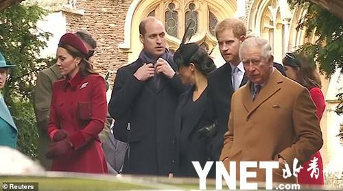 威廉和梅根不和?英媒捕捉细微场景:威廉不理梅根搭话兀自整理围巾