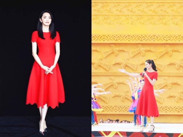 王媛可撞衫姚晨,同穿花朵边连衣裙,高贵和少女的区别一目了然