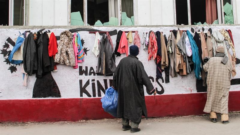 """克什米尔""""爱心墙""""提供免费衣物 寒冬中传递温暖"""