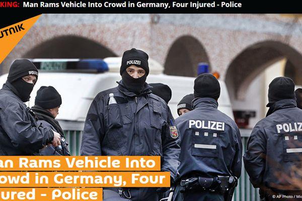 德国一男子开车冲进人群,造成至少4人受伤