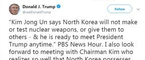 特朗普回应金正恩:我也期待与你会面