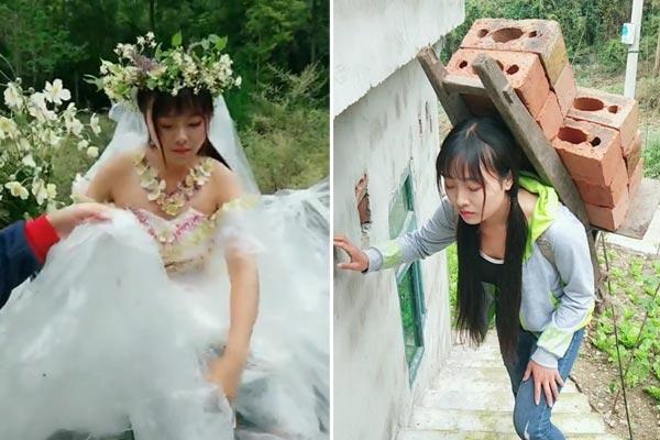 """95后农村彝族姑娘用塑料薄膜做成9米长婚纱 曾因""""背柴""""走"""