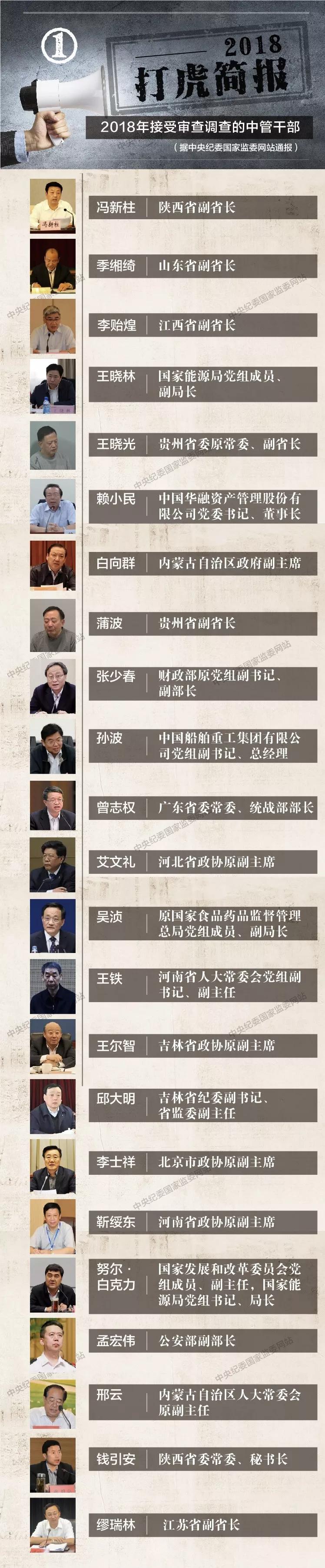 """2018""""打虎""""简报:23名中管干部接受审查调查"""