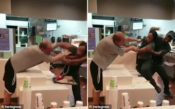 美流浪男子麦当劳餐厅暴打黑人女店员遭英勇反击