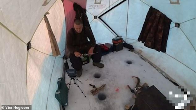 好笑!俄男子冰上垂钓被大梭鱼瞬间拽走鱼竿