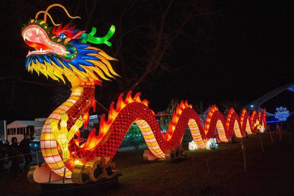 美国纽约举行冬季彩灯节 满满中国风