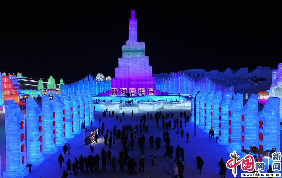 唯美航拍—哈尔滨冰雪游乐王国!夜幕下的冰灯美轮美奂