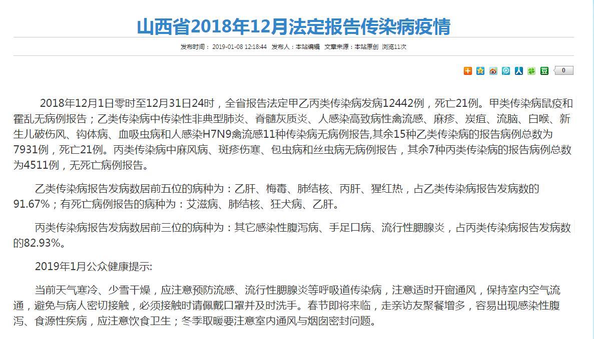 山西省2018年12月法定报告传染病疫情公布