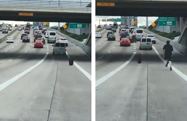 美短裤男公路上追逐滚动轮胎 司机们与其保持距离