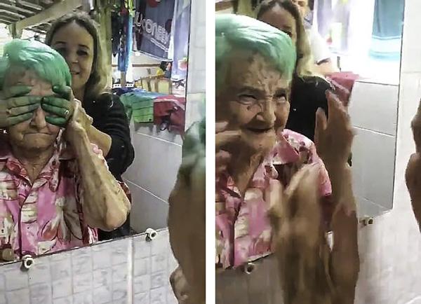 巴西80岁老奶奶第一次染发激动尖叫手舞足蹈