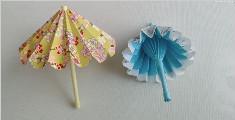 可以收缩折叠的迷你折纸小伞